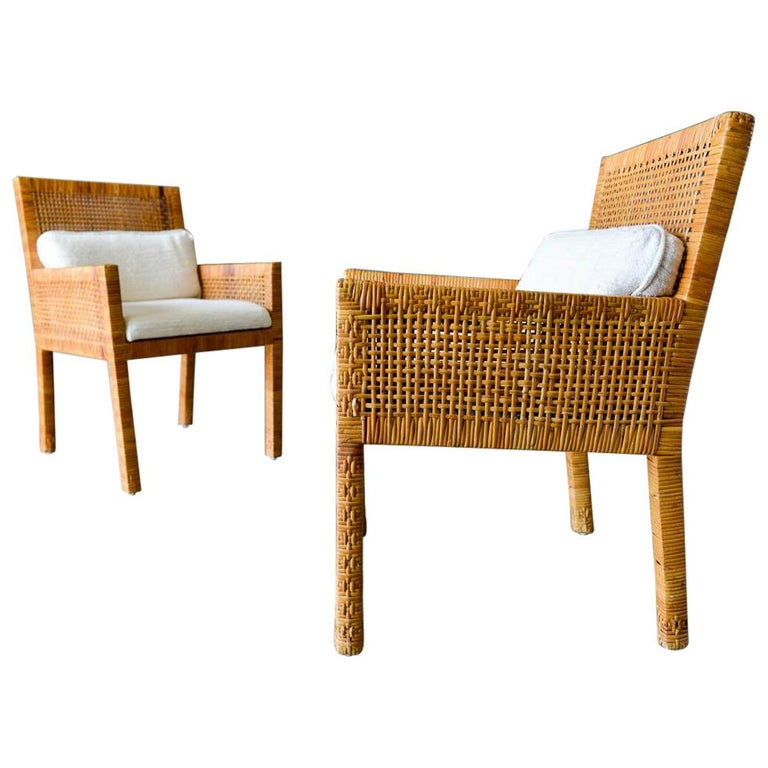 Pair of Cane Wrapped Armchairs in the Style of Billy Baldwin, circa 1970 For Sale