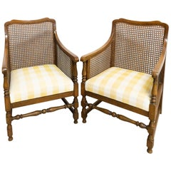 Pair of Caned Armchairs French, Beech Early 20th Century