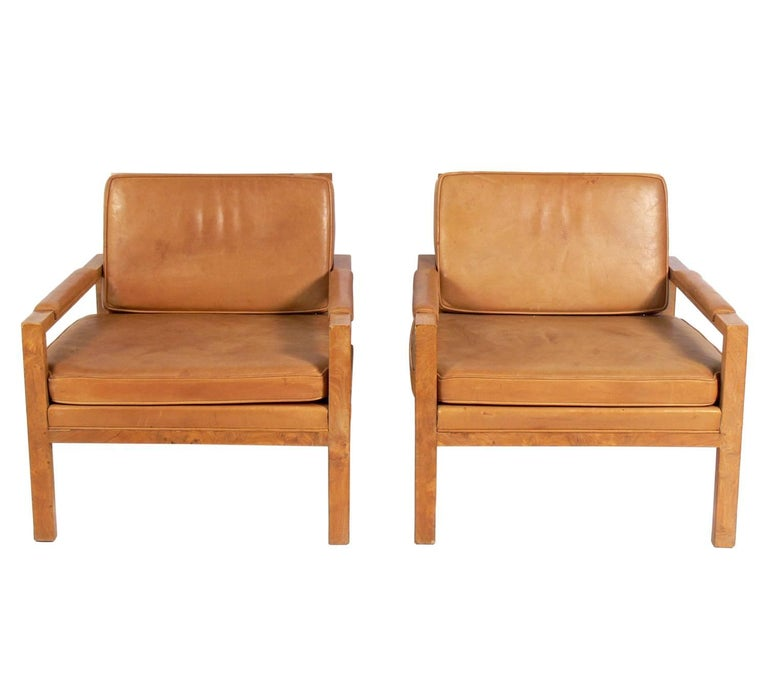 Mid Century Modern Pair Of Caned Back Burl Wood Lounge Chairs In Original Saddle Leather