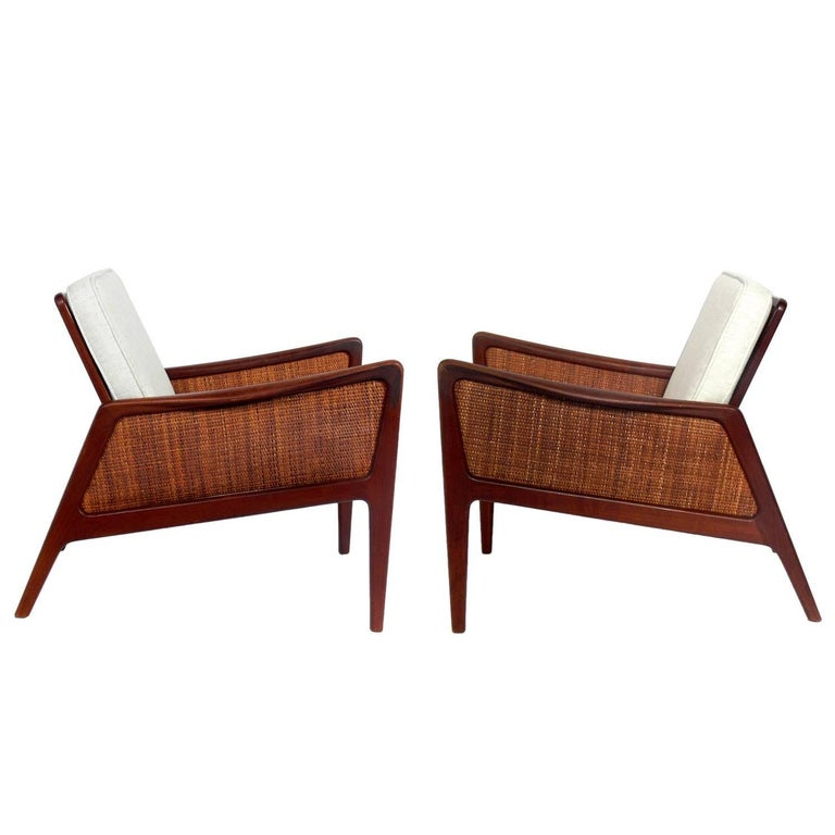 Pair of Caned Danish Modern Lounge Chairs