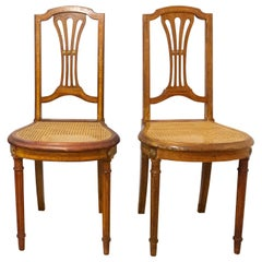 Pair of Caned Dining Chairs or Side Chairs Louis XVI Style French