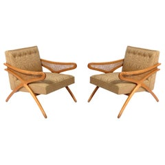Pair of Caned Mid Century Lounge Chairs