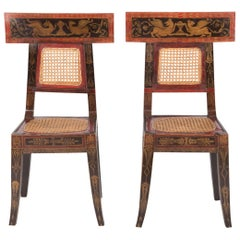 Pair of Caned Painted Side Chairs with Painted Greek Key Freeze