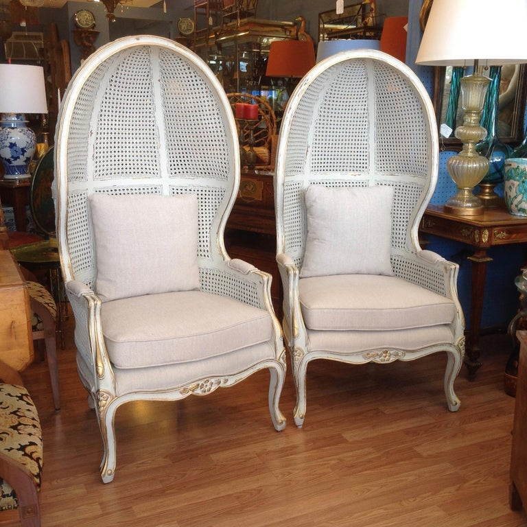 American Pair of Caned Porter's Style Chairs For Sale