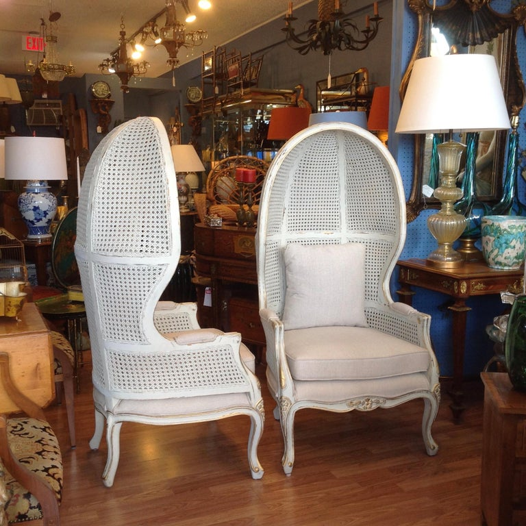 Painted Pair of Caned Porter's Style Chairs For Sale