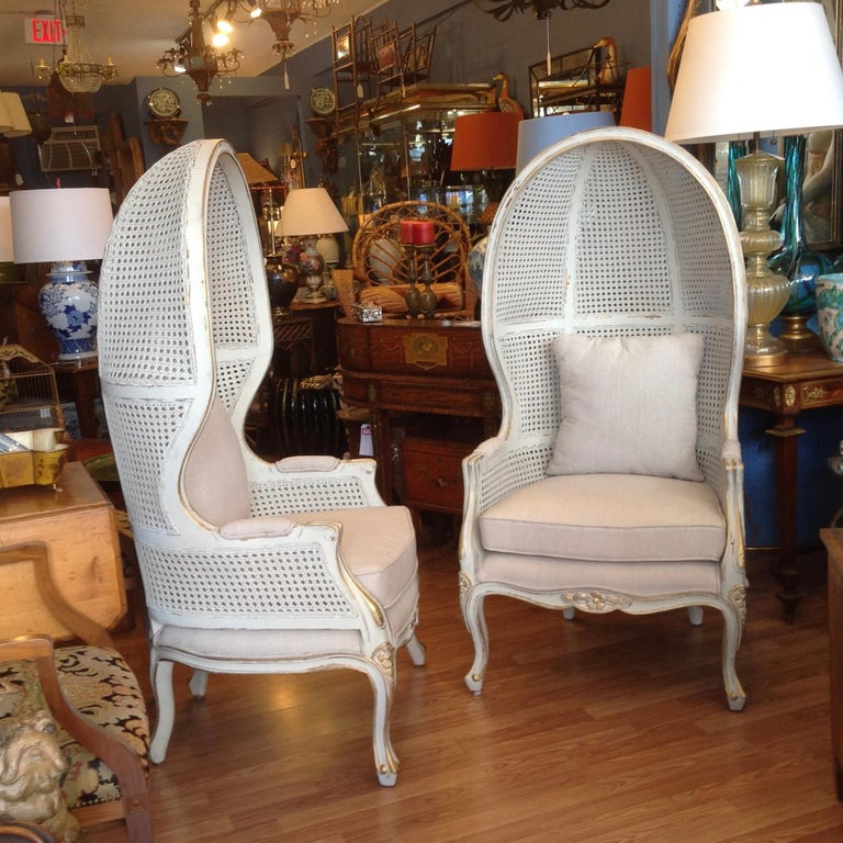Pair of Caned Porter's Style Chairs In Good Condition For Sale In West Palm Beach, FL