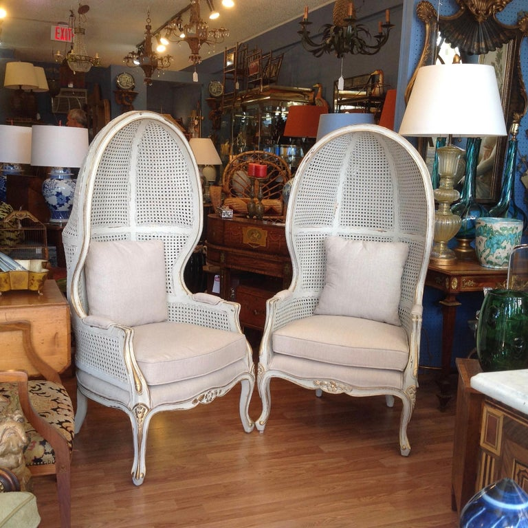 Mid-20th Century Pair of Caned Porter's Style Chairs For Sale