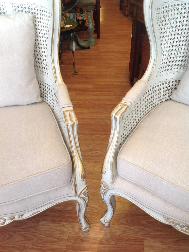Wood Pair of Caned Porter's Style Chairs For Sale