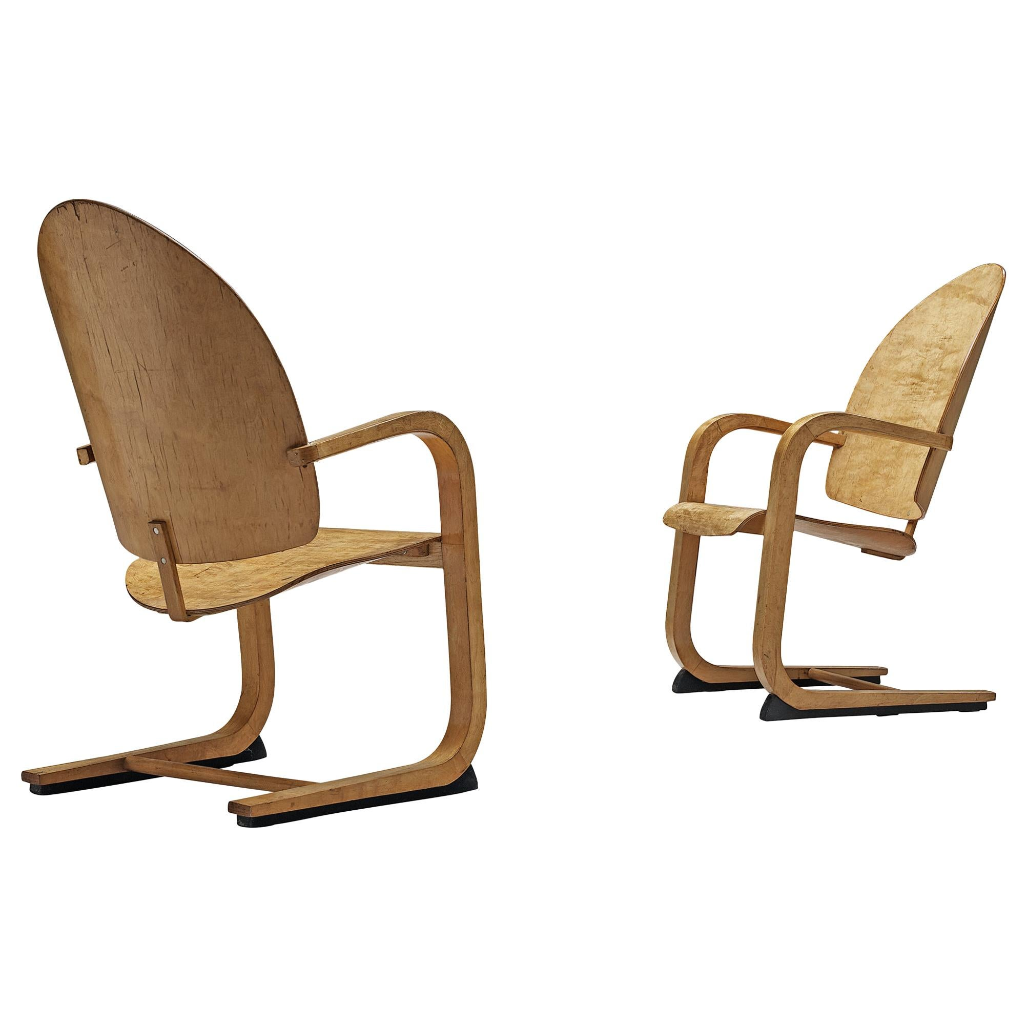 Pair of Cantilever Armchairs in Birch, 1930s