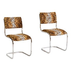 Pair of Cantilever Chairs in Chrome Steel and Cheetah Fabric, 1970s