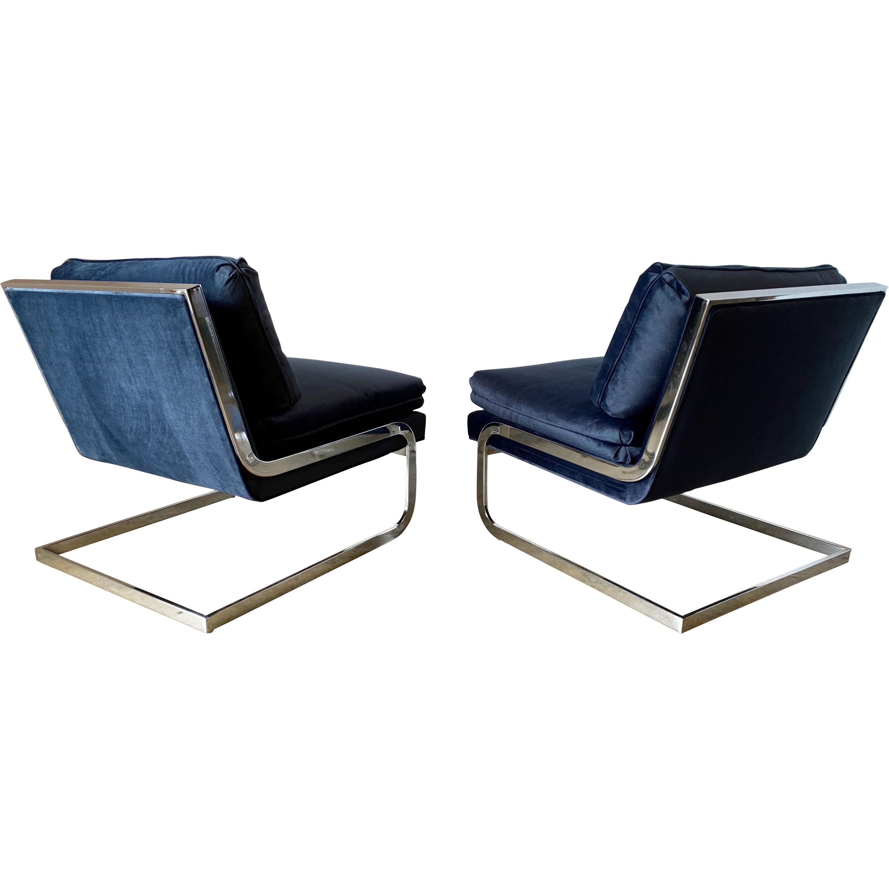 Pair of Cantilever Chrome Lounge Chairs