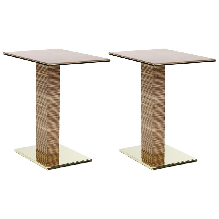 Pair of Cantilever Infinity Side Tables in brass by Christopher Kreiling For Sale