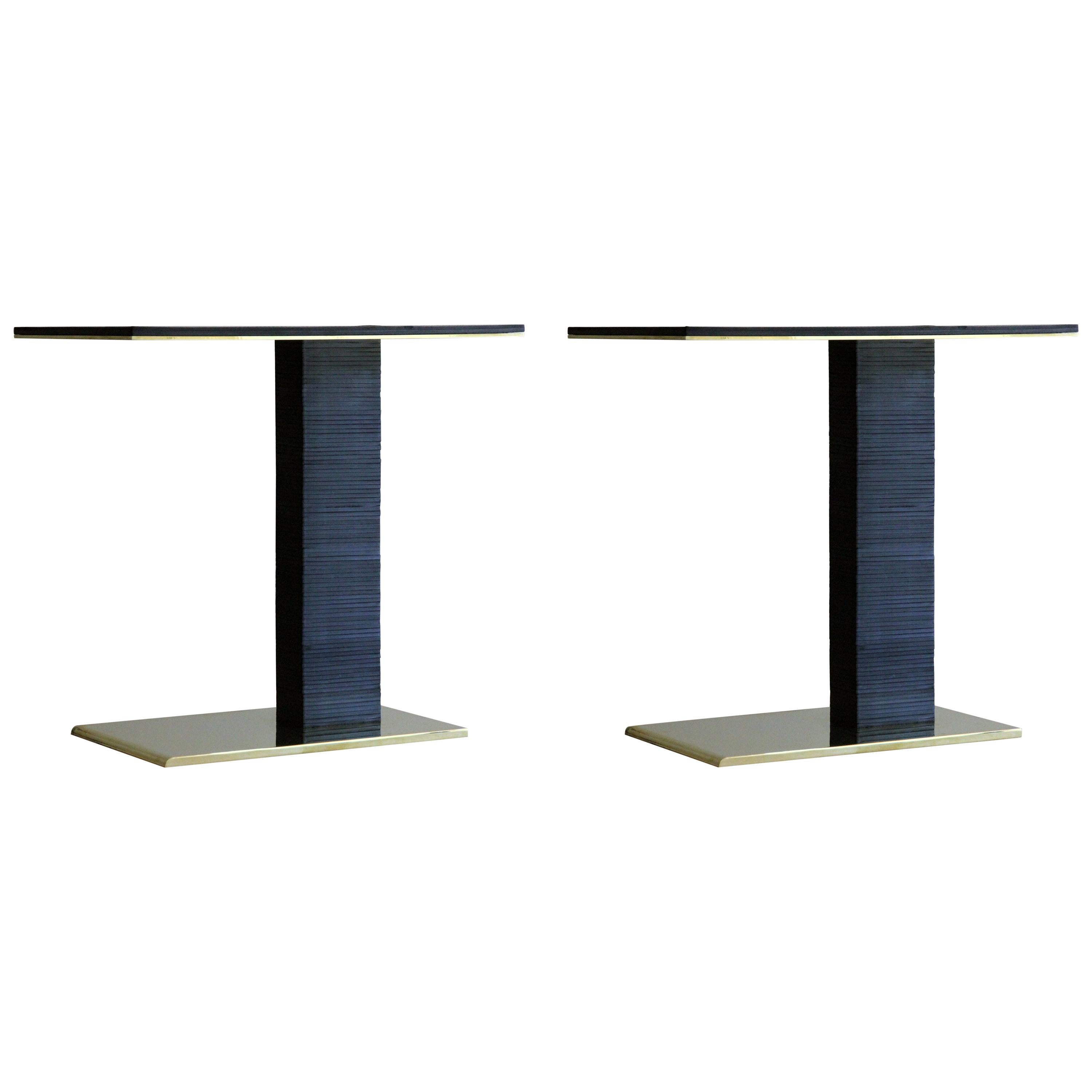 Pair of Cantilever Infinity Side Tables in leather & brass by KREILING