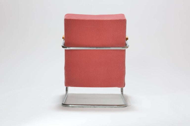 Fabric Pair of Cantilever Tubular Steel Armchairs by Thonet with Mohair Upholstery For Sale