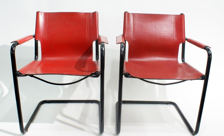 Bauhaus Pair of Cantilever Visitor Side Chairs, Signed Matteo Grassi, Italy, 1970s For Sale