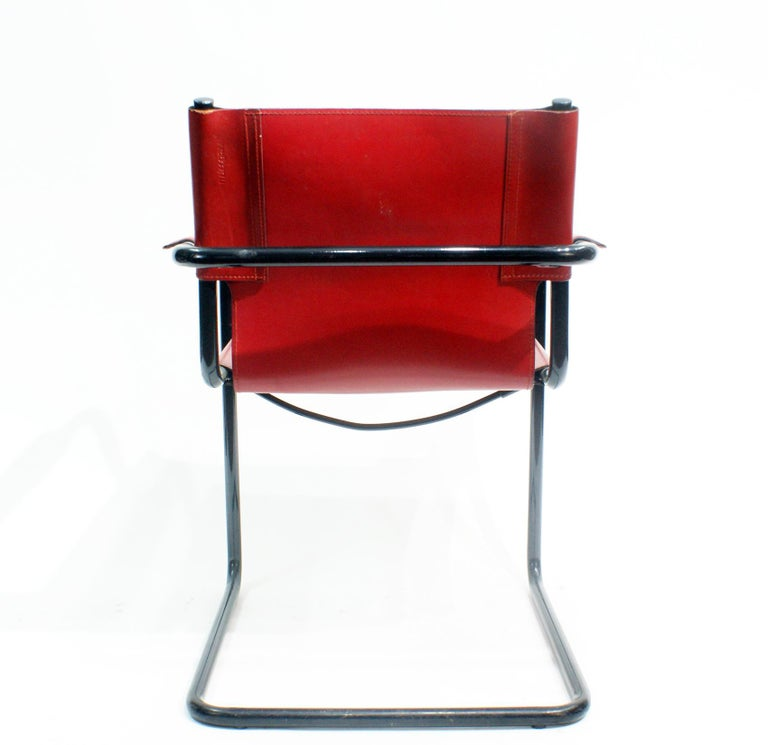 Anodized Pair of Cantilever Visitor Side Chairs, Signed Matteo Grassi, Italy, 1970s For Sale