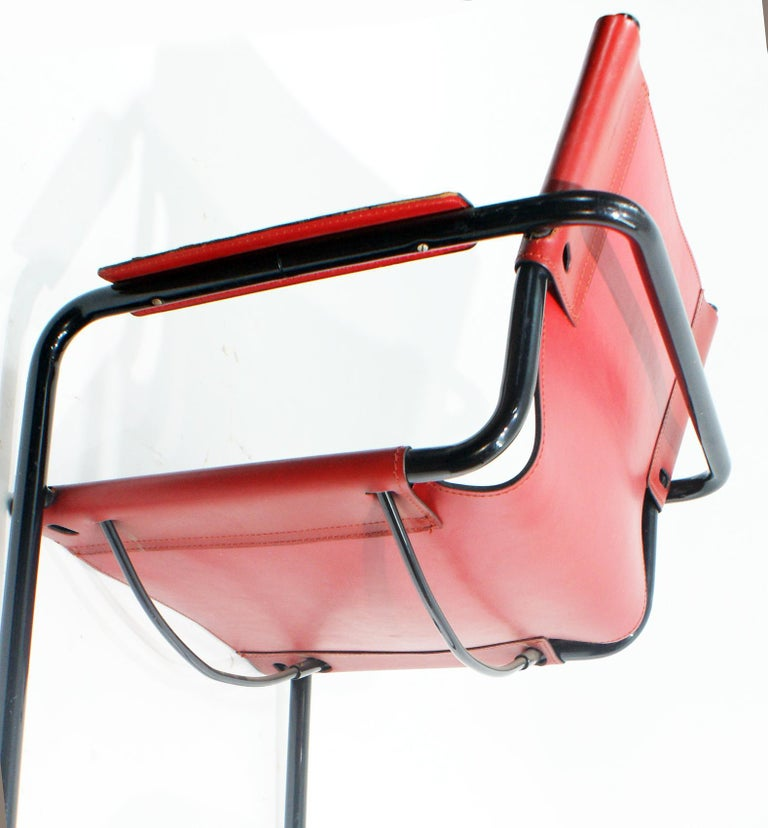 Steel Pair of Cantilever Visitor Side Chairs, Signed Matteo Grassi, Italy, 1970s For Sale