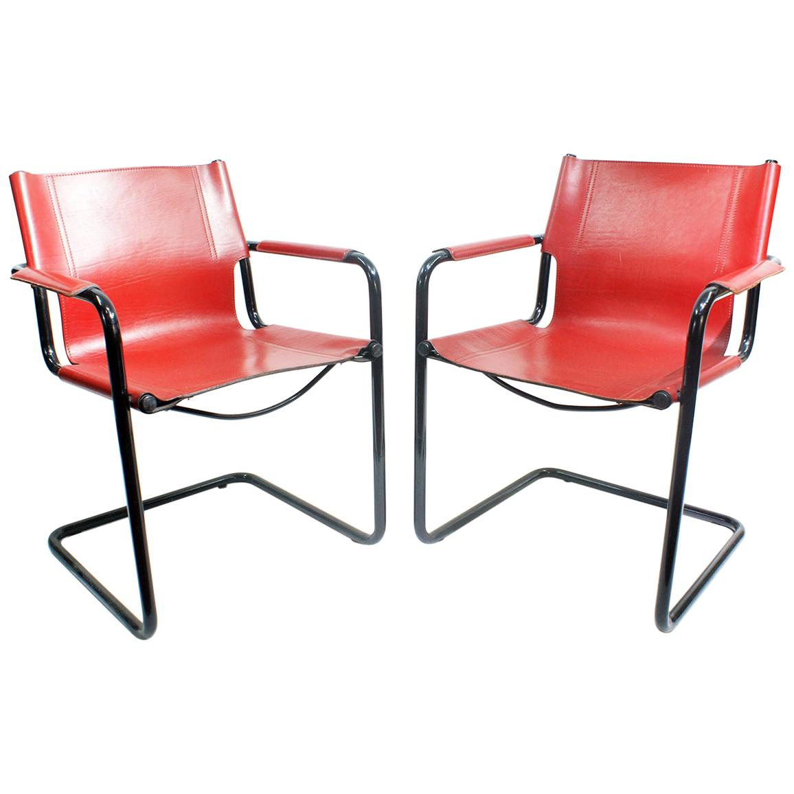 Pair of Cantilever Visitor Side Chairs, Signed Matteo Grassi, Italy, 1970s