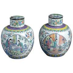 Pair of Canton Enamel Vases & Covers