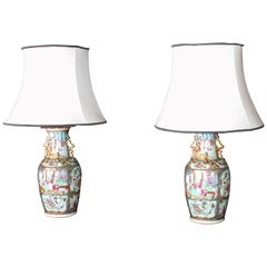 Pair of Canton Vases Now as Lamps