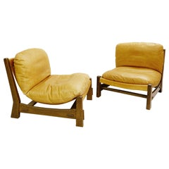 Pair of Canvas and Leather Armchairs in the Brazilian Style