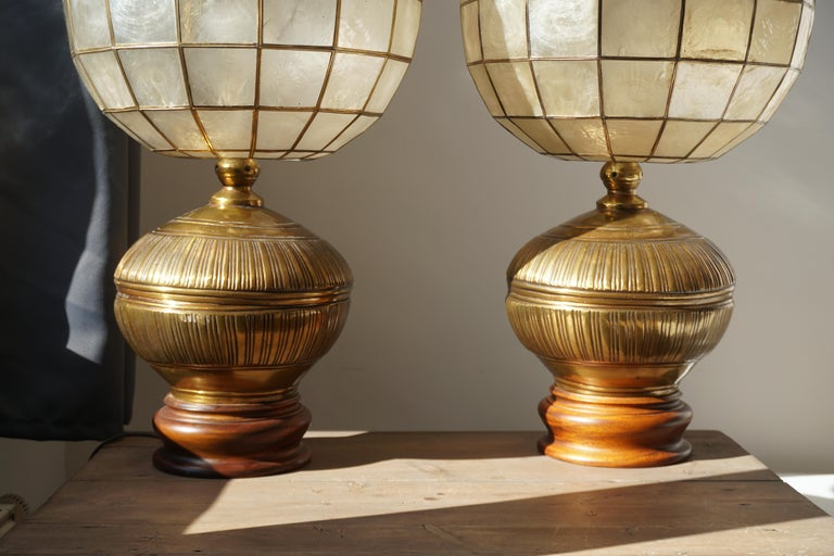Pair of Capiz Shell and Copper Lamps For Sale 4