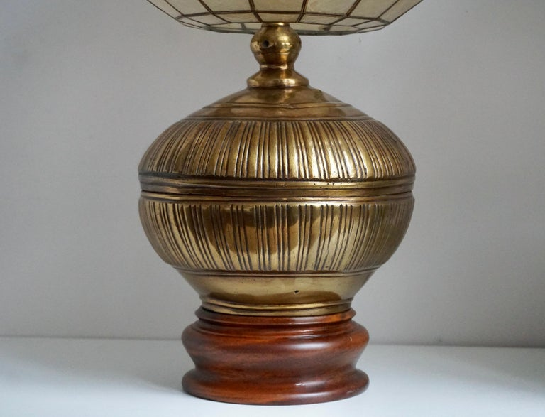 Pair of Capiz Shell and Copper Lamps For Sale 5