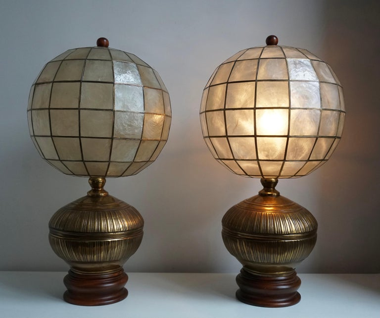 Hollywood Regency Pair of Capiz Shell and Copper Lamps For Sale
