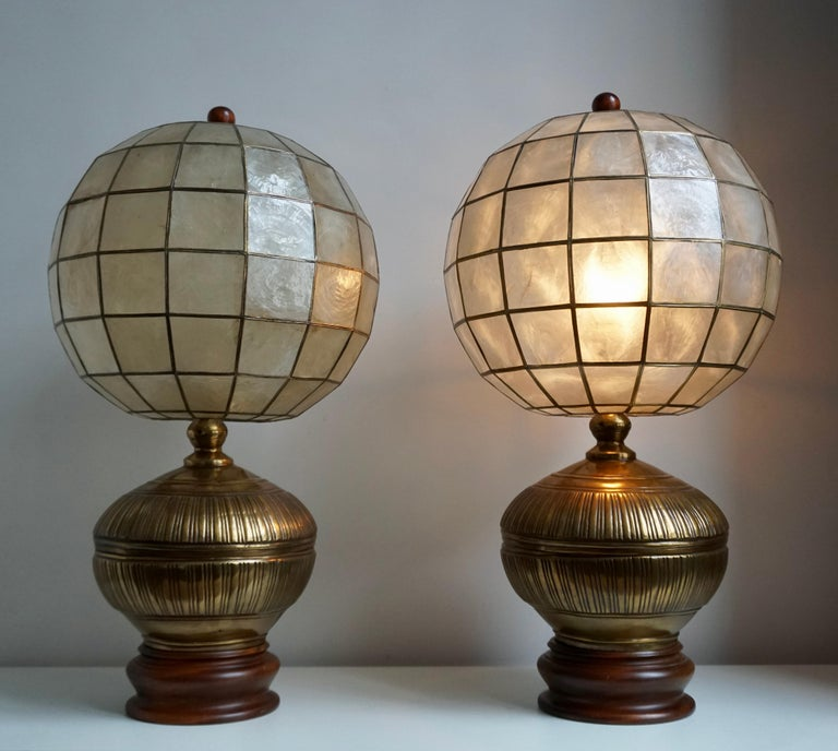 Italian Pair of Capiz Shell and Copper Lamps For Sale