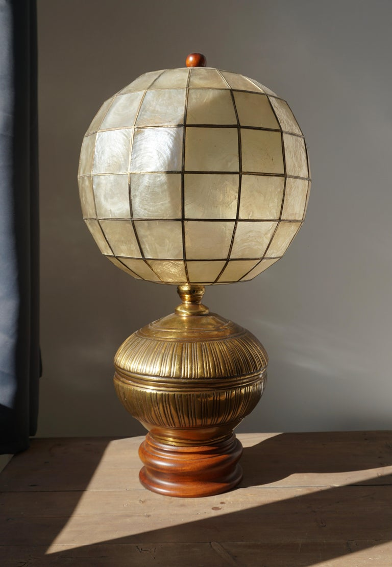 20th Century Pair of Capiz Shell and Copper Lamps For Sale