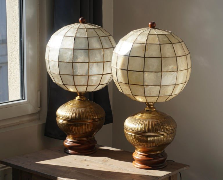 Pair of Capiz Shell and Copper Lamps For Sale 1