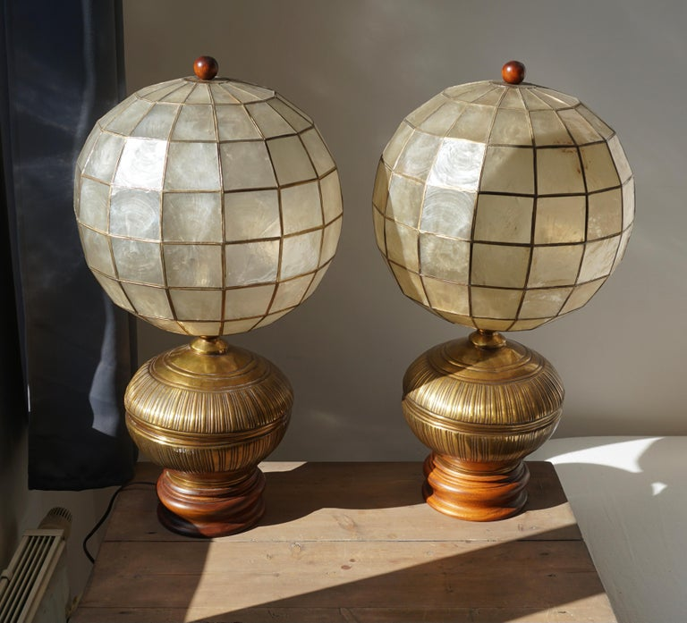 Pair of Capiz Shell and Copper Lamps For Sale 2