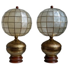 Pair of Capiz Shell and Copper Lamps