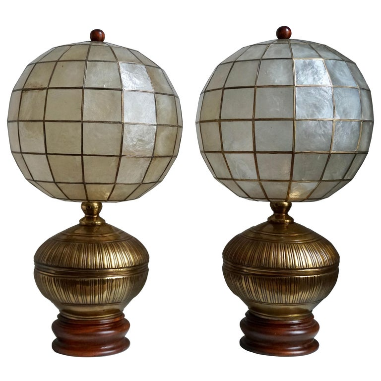 Pair of Capiz Shell and Copper Lamps For Sale