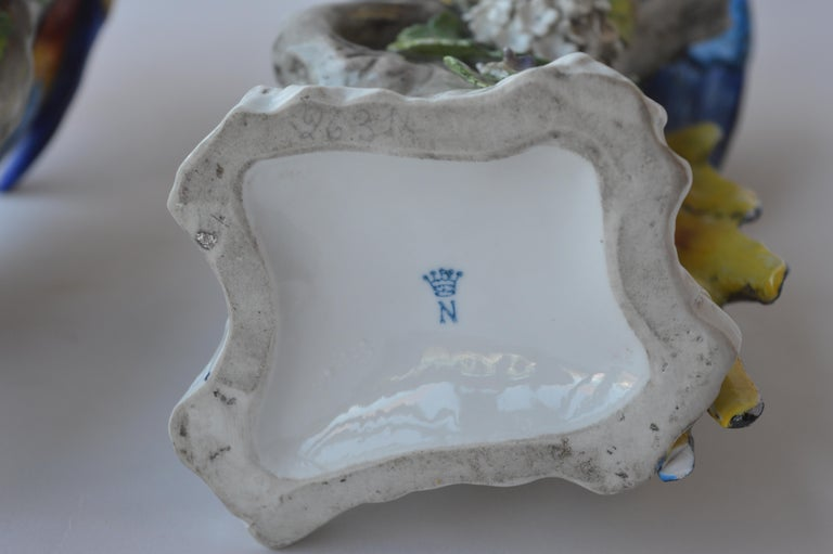 Pair of Capodimonte Porcelain Parrots For Sale 2