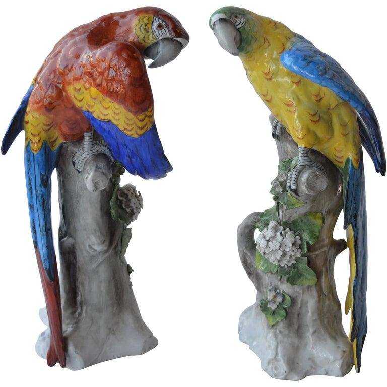 Pair of Capodimonte Porcelain Parrots For Sale