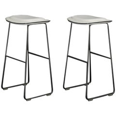 "Pair of Cappellini ""Hi-Pad"" Bar Height Barstools in White Faux Leather"