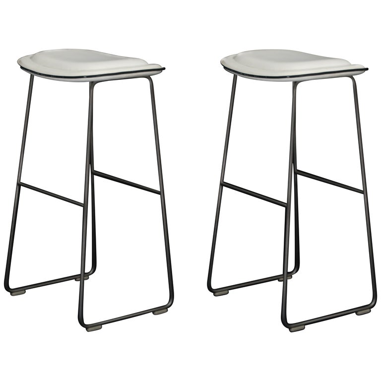 """Pair of Cappellini """"Hi-Pad"""" Bar Height Barstools in White Faux Leather For Sale"""
