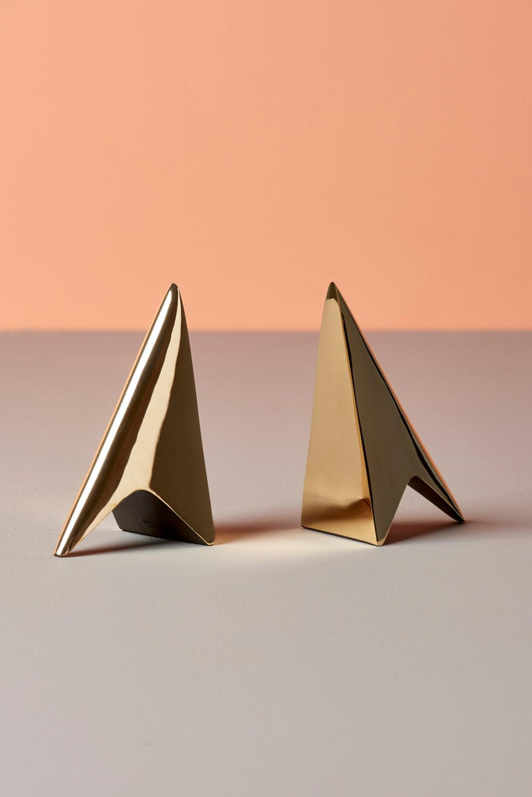 Mid-20th Century Pair of Carl Auböck Bookends in a Patina and Polish Brass Mix For Sale