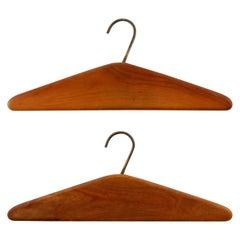 Pair of Carl Auböck Coat Clothes Hangers, Wood Brass, Austria, 1960