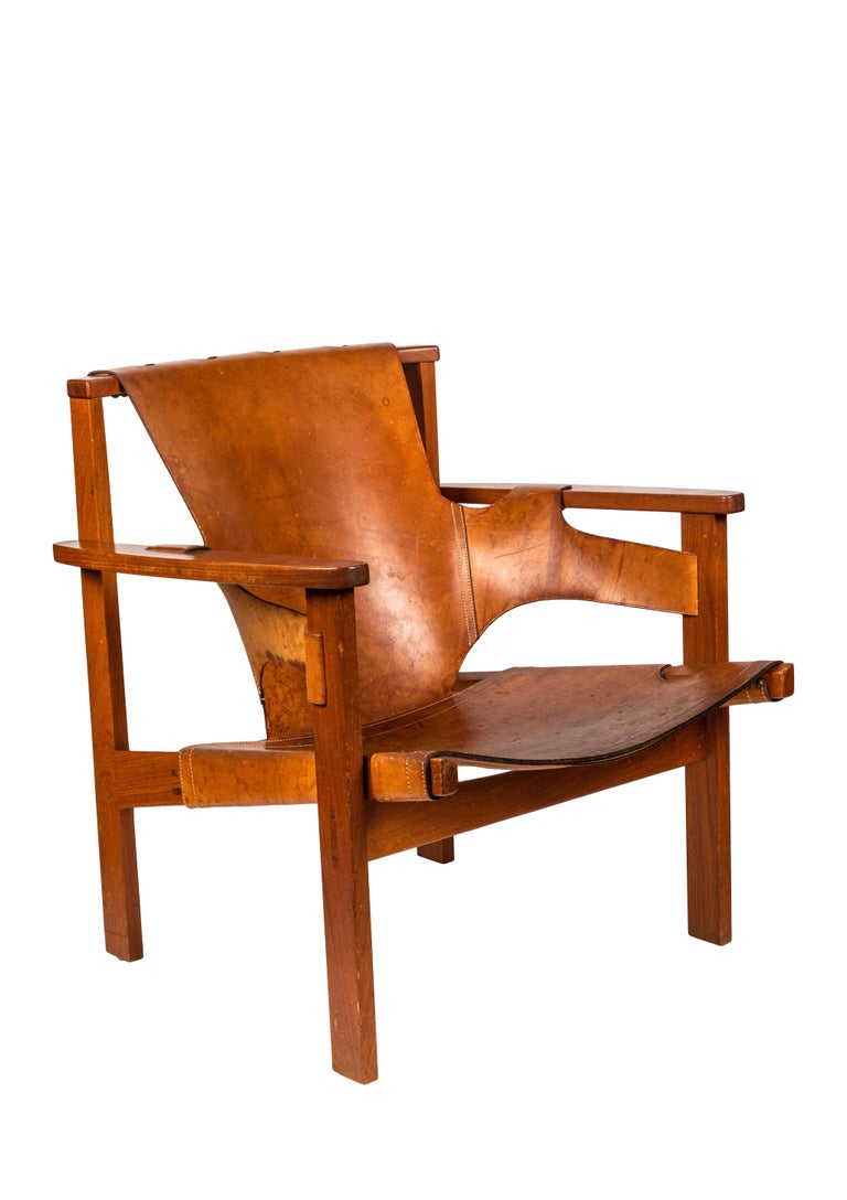 Pair of Carl Axel Acking 'Trienna' Chairs in Patinated Brown Leather, circa 1957 5
