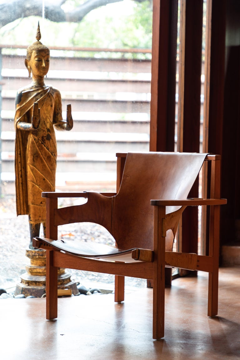 Pair of Carl Axel Acking 'Trienna' Chairs in Patinated Brown Leather, circa 1957 8
