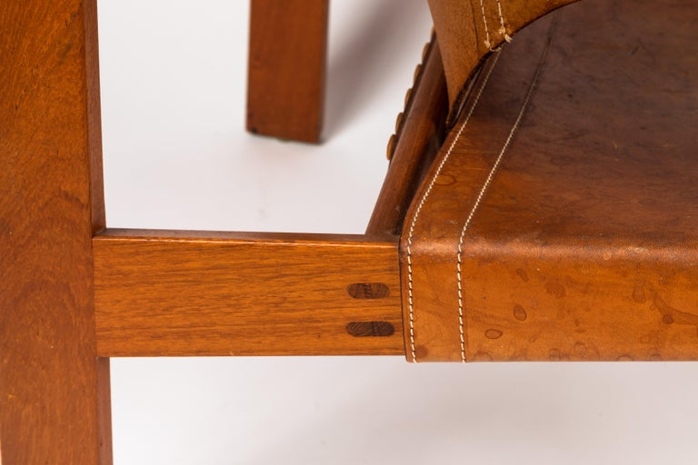 Pair of Carl Axel Acking 'Trienna' Chairs in Patinated Brown Leather, circa 1957 11