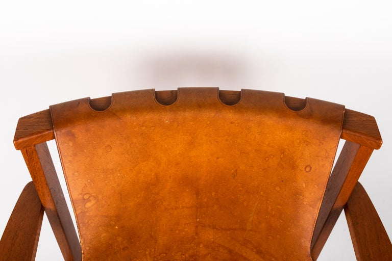 Pair of Carl Axel Acking 'Trienna' Chairs in Patinated Brown Leather, circa 1957 12