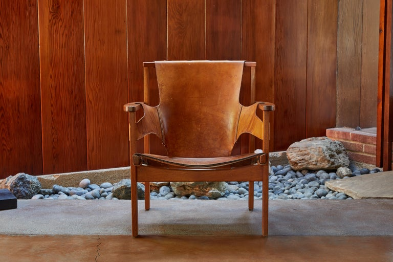 Pair of Carl Axel Acking 'Trienna' Chairs in Patinated Brown Leather, circa 1957 In Good Condition In Glendale, CA