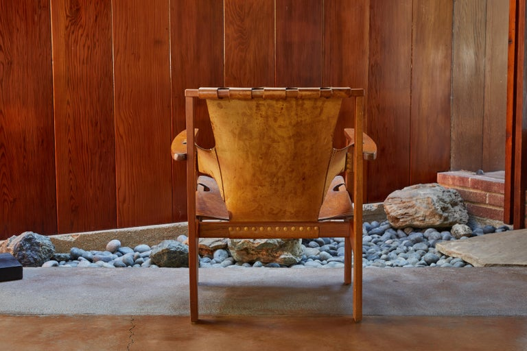 Mid-20th Century Pair of Carl Axel Acking 'Trienna' Chairs in Patinated Brown Leather, circa 1957