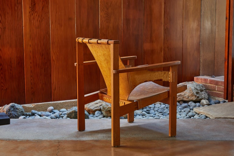 Pair of Carl Axel Acking 'Trienna' Chairs in Patinated Brown Leather, circa 1957 1