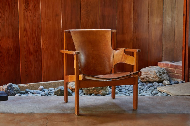 Pair of Carl Axel Acking 'Trienna' Chairs in Patinated Brown Leather, circa 1957 2