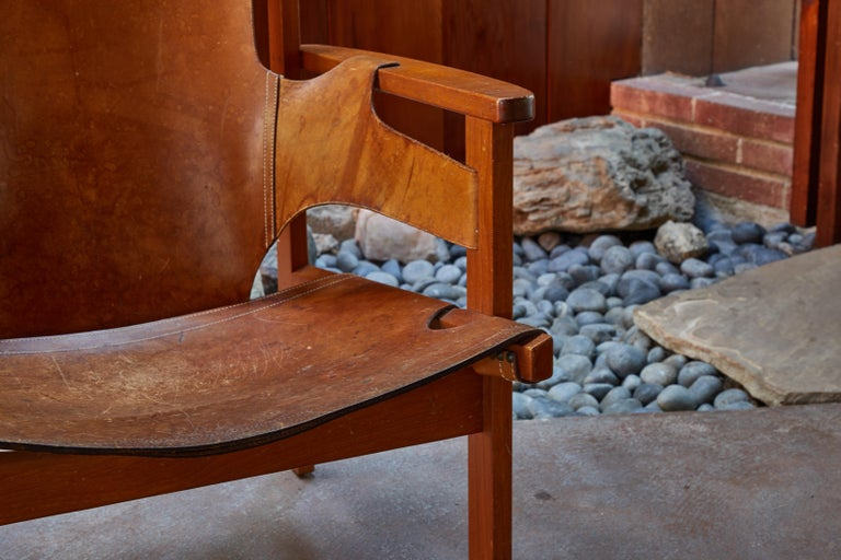 Pair of Carl Axel Acking 'Trienna' Chairs in Patinated Brown Leather, circa 1957 3