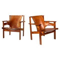 Pair of Carl Axel Acking 'Trienna' Chairs in Patinated Brown Leather, circa 1957
